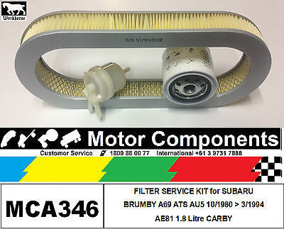 FILTER SERVICE KIT Oil Air for SUBARU BRUMBY A69 AT5 AU5 EA81 1.8L CARBY 1980>94