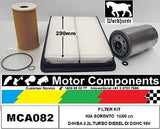 FILTER KIT KIA SORENTO DIESEL D4HBA 2.2L TURBO DI  16V 10/09 on 290mm AIR FILTER