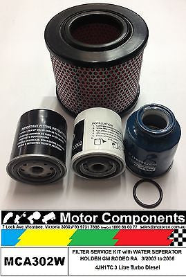 FILTER KIT with water separator HOLDEN RODEO RA 4JH1TC 3L Turbo Diesel 2003>2008