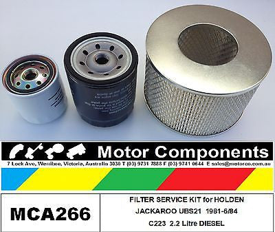 FILTER SERVICE KIT for HOLDEN JACKAROO UBS21 C223 2.2 Litre Diesel 1981-1984