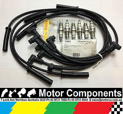 IGNITION LEADS & SPARK PLUGS for FORD FALCON XF FE 84-88 FAIRLANE ZL 86-89