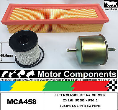 FILTER KIT Oil Air Fuel for CITROEN C3 1.6i TU5JP4 1.6L Petrol	4cyl	9/03>5/10