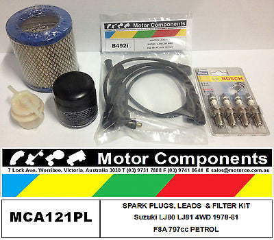 SUZUKI  LJ80 LJ81 4WD SPARK PLUGS, LEADS & FILTER SERVICE KIT F8A 797cc 1978-81