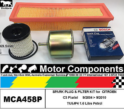 SPARK PLUG & FILTER KIT for CITROEN C3 Pluriel TU5JP4 1.6L Petrol 9/2004 > 9/10