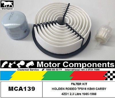 FILTER SERVICE KIT HOLDEN RODEO KB49 TFS16 4ZD1 2.3 Litre CARBY 1985-1/93