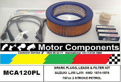 for SUZUKI LJ50 LJ51 LJ50-2 FILTERS SPARK PLUGS & LEADS 1972 > 1978