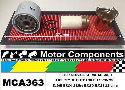FILTER KIT Oil Air Fuel for SUBARU LIBERTY BE EJ20E EJ201 2L EJ25 EJ251 1998>03