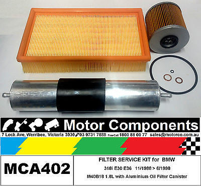 FILTER KIT Oil Air Fuel for BMW 318i E30 E36 M40B18 1.8L with METAL Oil Filter