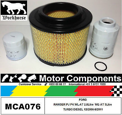 FILTER KIT Oil Air Fuel FORD RANGER PJ & PK 2.5 WL-AT TD 4WD 3Litre WE-AT 06>11
