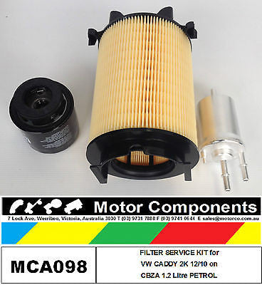 VW VOLKSWAGEN CADDY 2K Petrol  1.2L CBZA 12/10 on FILTER SERVICE KIT