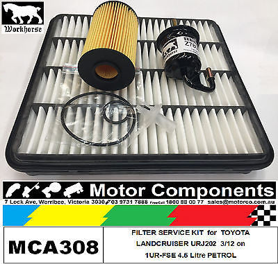 FILTER KIT Air Oil Fuel for TOYOTA Landcruiser URJ202 Petrol V8 4.6L 1UR-FSE