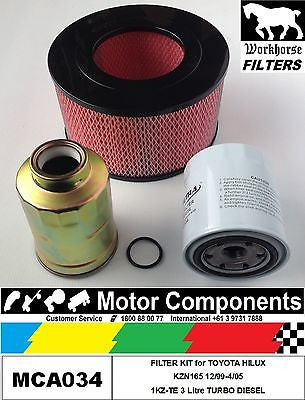 FILTER KIT Oil Air Fuel for TOYOTA HILUX KZN165 1KZ-TE 3 Litre TURBO DIESEL 99-05