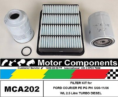 FORD COURIER PE PG PH  WL 2.5 Litre TURBO DIESEL  FILTER  KIT for 5/00-12/06