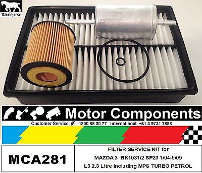 FILTER KIT for MAZDA 3 BK 1031 1032 SP23 L3 2.3 Litre incl. MPS TURBO 1/04-5/09
