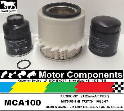 FILTER KIT MITSUBISHI TRITON  4D56 DIESEL (152mm AirFilter) ME MF MG 10/86-10/97