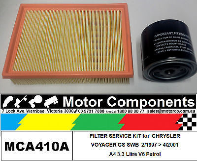 FILTER SERVICE KIT Oil Air Fuel for CHRYSLER VOYAGER GS SWB A4 3.3L 2/97>4/01