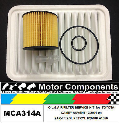 FILTER SERVICE KIT Air Oil for TOYOTA CAMRY ASV50R 2AR-FE 2.5L PETROL 2011 >