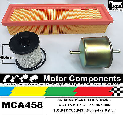 FILTER KIT Oil Air Fuel for CITROEN C2 VTR TU5JP4, VTS TU5JP4S 1.6L Petrol 04 >
