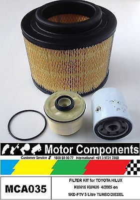 TOYOTA HILUX KUN16 KUN26 1KD-FTV 3 Litre FILTER KIT Oil Air Fuel 4/2005 > 2015