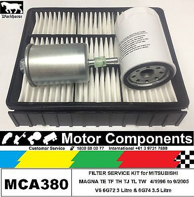 FILTER KIT Air Oil Fuel MITSUBISHI MAGNA TE TF TH TJ TL TW V6 6G72 3L 6G74 3.5L