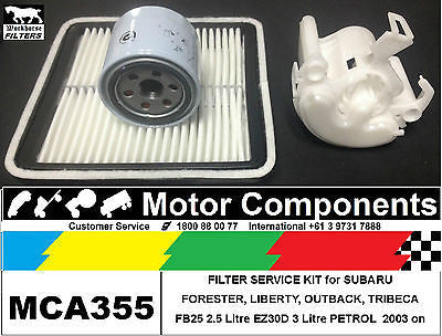 FILTER KIT Oil Air Fuel for SUBARU OUTBACK LIBERTY BLE BPE EZ30D 3L 2003 > 2009