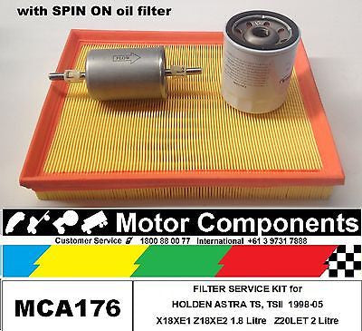 FILTER KIT for HOLDEN ASTRA TS X18XE1, Z18XE2 1.8L Z20LET 2L W/spin on oil 98-05