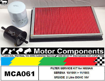 FILTER KIT Oil Air Fuel for NISSAN SERENA C23 SR20DE 2L Petrol 1991 >1995