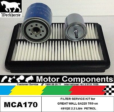 FILTER SERVICE KIT for GREAT WALL SA220  491QE MPFI OHV 2.2 Litre PETROL 7/09 on