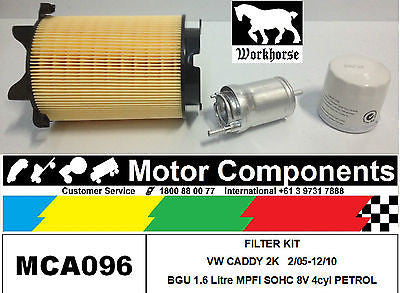 FILTER SERVICE KIT VW CADDY 2K BGU PETROL 1.6L SOHC 8V 4cyl 2/05-12/10