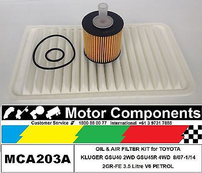 for TOYOTA KLUGER GSU40R GSU45R Petrol V6 3.5L 2GR-FE 8/07-2/14 OIL & AIR FILTER KIT