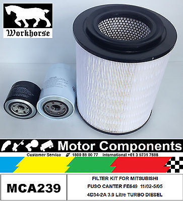 FILTER KIT for MITSUBISHI CANTER FE649 4D34-2A 3.9L TURBO DIESEL 2002 > 2005