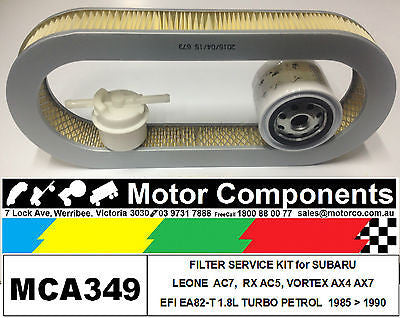 FILTER KIT Oil Air Fuel for SUBARU LEONE DL ROYALE EA82 1.8L PETROL 1985 > 1995