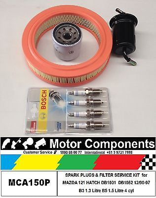 SPARK PLUGS & FILTER KIT MAZDA 121 HATCH DB1031 B3 1.3L DB1052 B5 1.5L 1990 >97