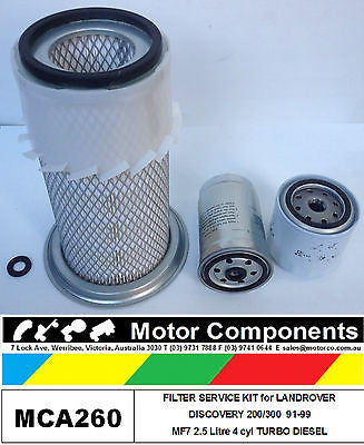 FILTER KIT for LANDROVER DISCOVERY 200/300 MF7 2.5 Litre TURBO DIESEL 4cyl 91-99