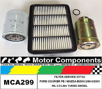 Filter Service Kit Oil Fuel Air MAZDA B2500 WL 2.5L  2/99-5/2000 Turbo Diesel