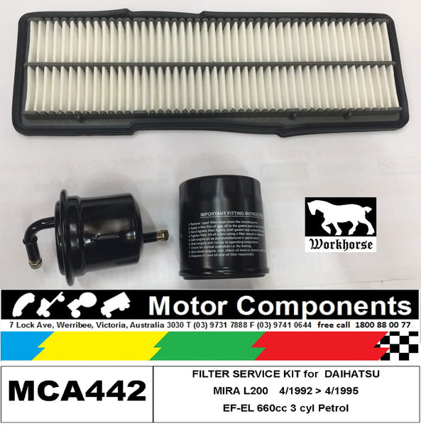 FILTER SERVICE KIT Oil Air Fuel for DAIHATSU MIRA L200  EF-EL 660cc 1992 > 95