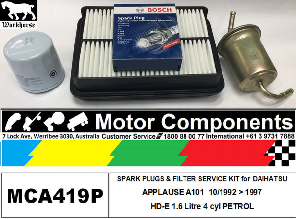 SPARK PLUG & FILTER SERVICE KIT for DAIHATSU APPLAUSE A101 HD-E 1.6L 10/92 > 97