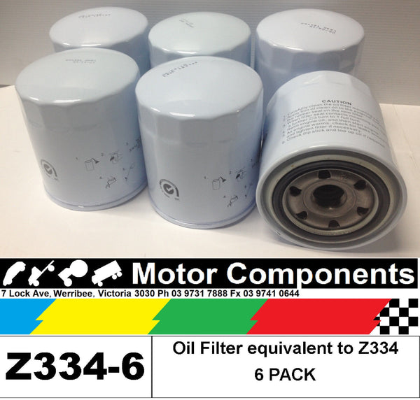 OIL FILTER 6 PACK Z334 for FORD, MAZDA & TOYOTA LANDCRUISER HILUX COASTER