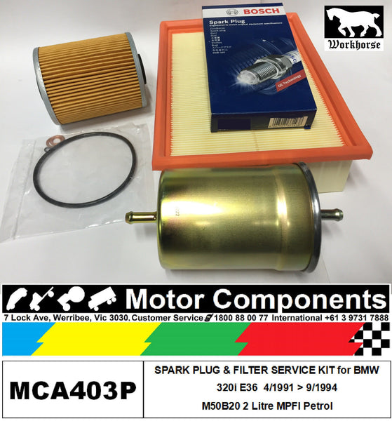 SPARK PLUG & FILTER KIT for BMW 320i E36 M50B20 2 Litre 6 cyl MPFI 4/91 > 9/94