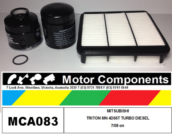 MITSUBISHI TRITON 2.5L TURBO DIESEL ML MN 4D56T FILTER KIT Air Oil Fuel 2008 on