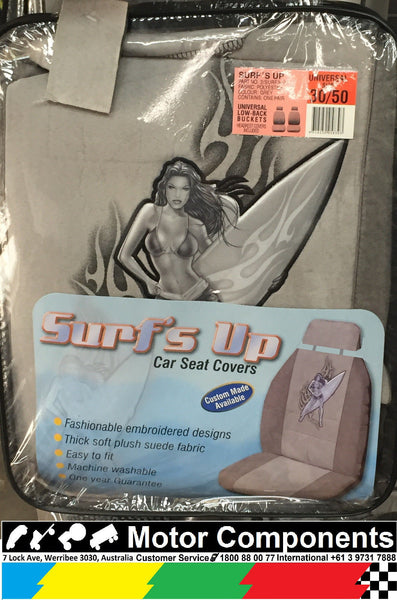 UNIVERSAL LOW BACK BUCKET SEAT COVER WITH HEAD REST 30/50 SURFS UP