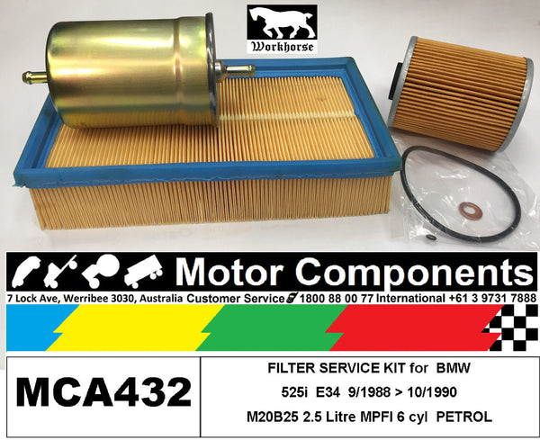 FILTER SERVICE KIT Air Oil Fuel for BMW 525i E34 M20B25 2.5L MPFI	9/88 > 10/1990