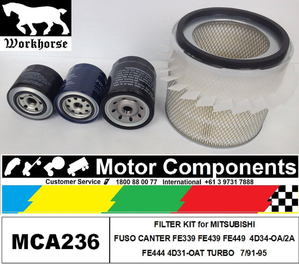 MITSUBISHI CANTER FE339 FE439 FE449 3.9L 4D34 FE444 4D31 TURBO 91-95 FILTER KIT
