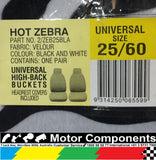 SEAT COVER HOT ZEBRA UNIVERSAL high back MULTI FIT FRONT 25 / 60