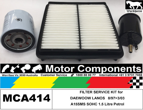 FILTER SERVICE KIT for DAEWOO LANOS SOHC 1.5L A15SMS	8/1997>3/2003 Air Oil Fuel