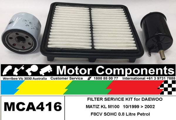 FILTER SERVICE KIT Air Oil Fuel for DAEWOO MATIZ KL M100, M150 0.8L F8CV 99 > 02