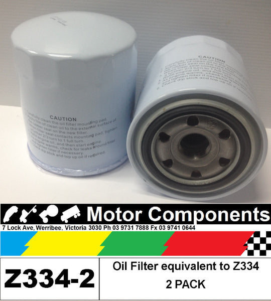 OIL FILTER 2 PACK Z334 for MAZDA & TOYOTA LANDCRUISER HILUX COASTER