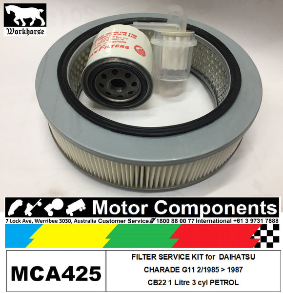 FILTER SERVICE KIT Oil Air Fuel for DAIHATSU CHARADE G11 CB22 1L	2/1985 > 1987