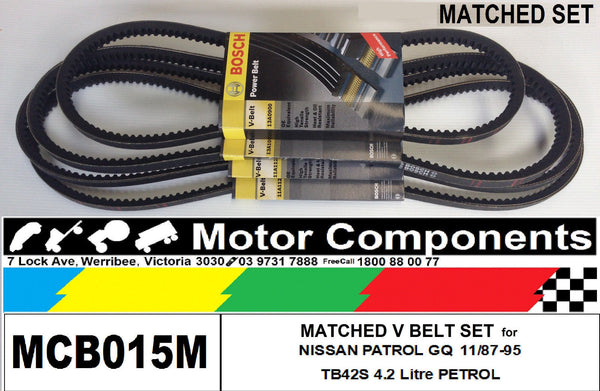 MATCHED FAN V BELT SET for NISSAN PATROL GQ TB42S CARBY Petrol 4.2L 88-95