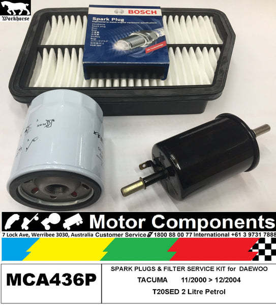 SPARK PLUG & FILTER SERVICE KIT Air Oil for DAEWOO TACUMA T20SED 2L	11/00>12/04